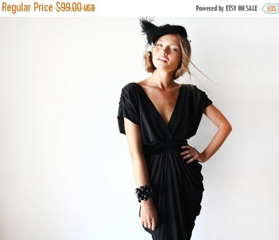 Spring Sale Black open back dress at knee length, Backless black short gown 1007