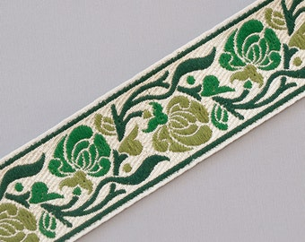 "Shades of Green On Jacquard Sewing Trim Art Nouveau Flower 3 yards 1.25 "" wide"