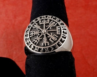 Sterling Silver Icelandic Vegvísir Ring, A Protection Symbol, Magical Staves Compass, Free Shipping