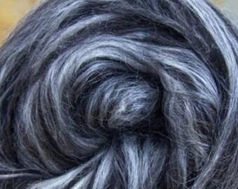 Black Alpaca Extra Bleached Tussah Silk Spinning felting crafting Roving