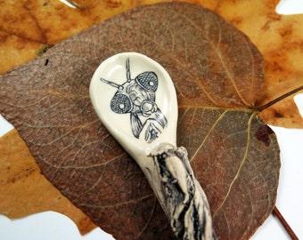 Preying Mantis Spoon, Handmade Ceramic Spoon, Pottery Spoon