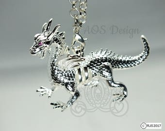 Silver Dragon Pick A Pearl Cage Necklace Red Ruby Eyes Maleficent Charm Metal Pendant Locket LE Descendents Banshee