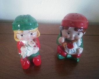 Vintage Pair of Avon Boy and Girl Salt and Pepper Shakers - Avon Salt and Pepper Shakers - Avon Christmas Decor