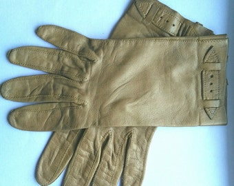 Vintage taupe brown gloves sz very sml