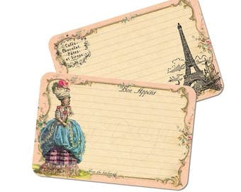 French Recipe Cards - Paris Bridal Shower - Marie Antoinette - Eiffel Tower - Set of 12