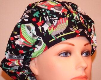 Black Owl Christmas Print Bouffant Surgical Hat