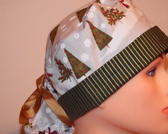 Green Trees and Snowmen Christmas Print Pony Tail Style Surgical Hat