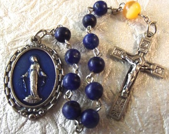 Blue Miraculous Medal Rosary Tenner