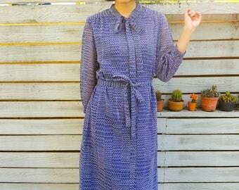 Vintage Dress, 1980s Dress, Vintage Japanese Dress, Womens Dress, Summer Dress, 80s Dress, Retro clothing, Purple Dress, Bow tie Dress