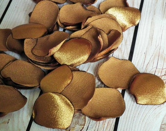 ANTIQUE GOLD crepe back satin rose petals  - flower petals for wedding basket, aisle decor, anniversary, romantic date night, ready to ship