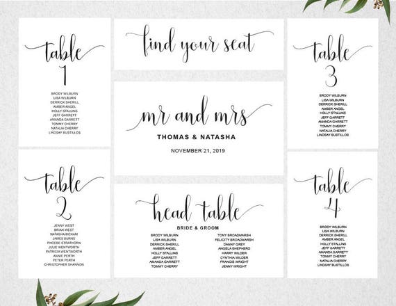 wedding seating chart template instant download seating plan table cards seating cards. Black Bedroom Furniture Sets. Home Design Ideas
