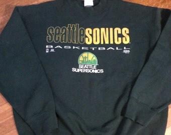 Vintage Seattle Sonics Sweatshirt / Sonics Sweatshirt/ Vintage Basketball Sweatshirt/ Size XL