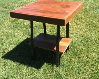 "Reclaimed Wood End Table with metal legs and  shelf 22""x22""x24"""
