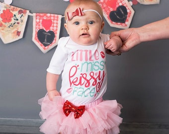 Little Miss Kissy Face Valentine Tutu Bloomer Legwarmers Onesie Bodysuit Oufit