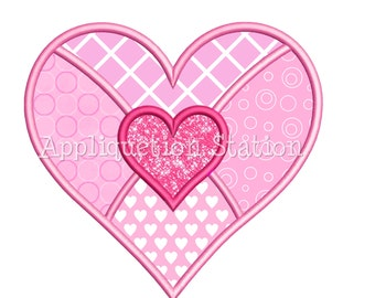 Double Heart Patchwork Applique Machine Embroidery Design Valentine pink red INSTANT DOWNLOAD