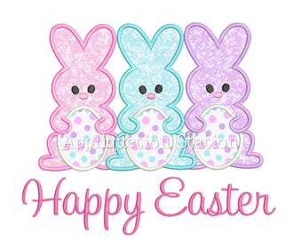 Bunny Trio Happy Easter Applique Machine Embroidery Design Egg Spring Rabbit INSTANT DOWNLOAD