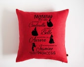 Personalized pillow with custom print, 16x16 inch size. Red pillow. Black print