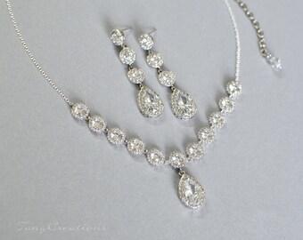 CZ Bridal jewelry set, wedding jewelry, bridal jewelry, cz necklace, wedding necklace, wedding necklace, bridesmaid jewelry