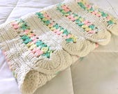 Vintage PASTEL Crochet Baby Blanket / MINT Green Yellow Pink Baby Afghan / Throw Blanket With Scallop Edge
