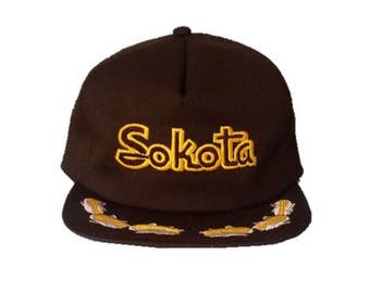 Vintage Sokota Seeds Farmer Trucker Hat - snapback snap back style - Brown and Yellow with Corn Lid - 420