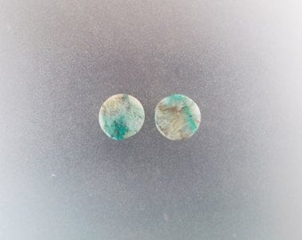 "Malachite Chrysocolla 1/2"", 13mm one pair ear plugs"
