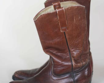 vintage red wing western boots brown leather mens size 8D
