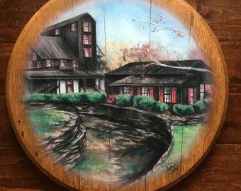 Makers Distillery Bourbon Whiskey Barrel Head: man cave art, wedding hostess gift, Kentucky recycled present for him, wall decor gallery