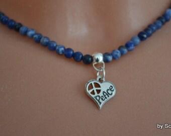 Pearl semi precious stone chain blue with heart sterling silver