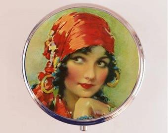 Gypsy Flapper Pill Box Case Pillbox Holder Stash Trinket Box Art Deco Boho Bohemian Illustration