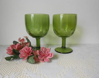 Vintage Pair of avocada green goblets, wide mouth thumbprint  glasses drinkware