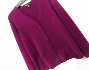 Cardigan Sweater, Designers Originals, Plum Purple, Size Extra Large, Winter Cruise Resort