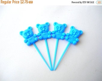 Christmas Sale 12 Blue Plastic Teddy Bear Cupcake Toppers - Plastic Flat Back Bears - Scrapbooking - Baby Shower - Birthday Party
