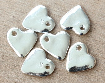 Heart Charms, Silver Plated, 16mm -  4 pcs- eC2858S