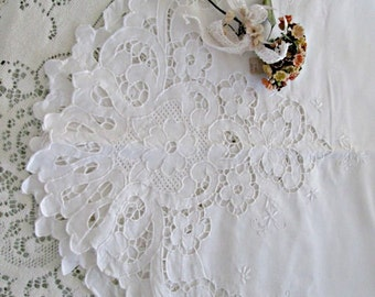 Vintage white battenburg valance, large valance lovely wide swag curtain,vintage linens,vintage window treatment,white lace curtain,hermina