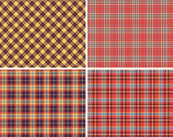 "FOUR  12"" x 12"" Vinyl  Sheets Set,  Plaid Pattern Outdoor Vinyl Or SISER HTV with Transfer Mask 006"