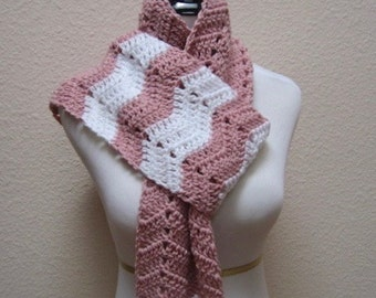 Scarf Ripple Chevron Rose Pink and White Neck Warmer Hand Crocheted