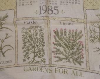 Herb Gardens White Yellow Linen Tea Towel 1985