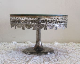 Davco Silver Mirror Top Cake Pastry Vanity Stand Wedding