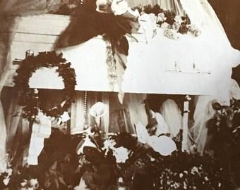 Joy's Casket Antique Postmortem Funeral Photo with Flowers