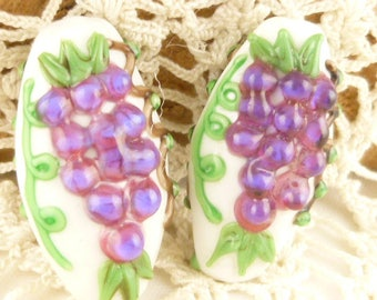 Grapevine and Grapes Lampwork Focal Beads (2)