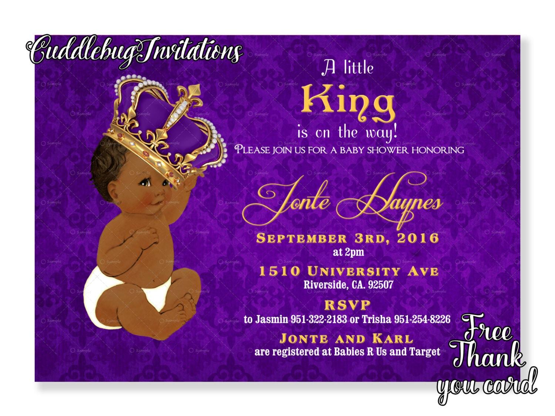African American Purple Boy Baby Shower Invitation Royal