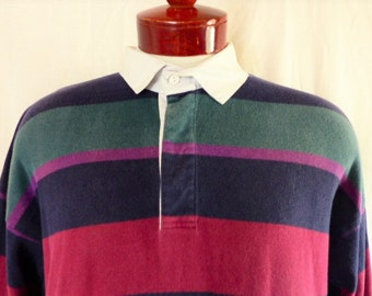 vintage 80's 90's McIntosh & Seymour world soccer gear rugby shirt color block horizontal stripe navy blue wine red green purple pullover XL