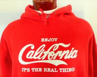 vintage 90's Enjoy California It's The Real Thing red fleece hoodie graphic sweatshirt pullover jumper white coke logo style oversized XXL
