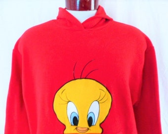 cute kawaii vintage 90s Tweety Bird Looney Tunes red reverse pile fleece graphic hoodie sweatshirt embroider applique cartoon character larg