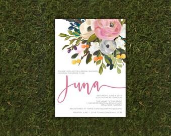 Modern Calligraphy Vintage Corner Floral Bridal Shower Invitation