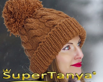 SUPERTANYA hand knitted soft wool hat with giant pom pom in brown by SuperTanya