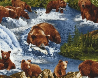 Fat Quarter Grizzly Bears Fishing 100% Cotton Quilting Fabric-Timeless Treasures