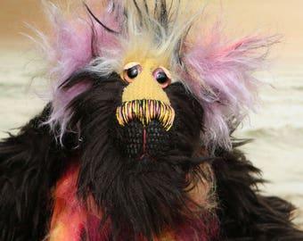 Samuel Snuzzlegutz is a splendidly characterful one of a kind, artist teddy bear made from shaggy mohair and faux fur by Barbara-Bears