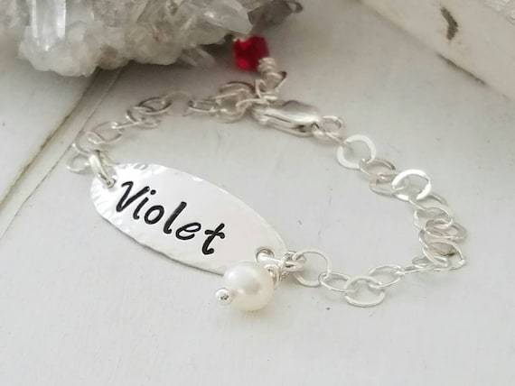 Baby Bracelet, Sterling Silver baby ID bracelet, Infant bracelet, Baby name bracelet, Personalized Name Plate, ID Bracelet, Name bracelet