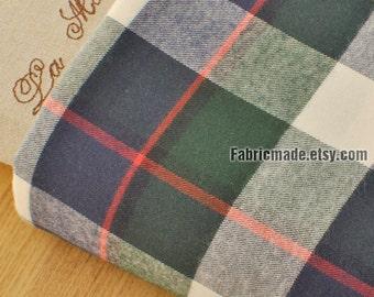Yarn Dye Large Plaid Cotton Fabric - Red Green Navy Blue Plaid Brushed Cotton Fabric 1/2 yard